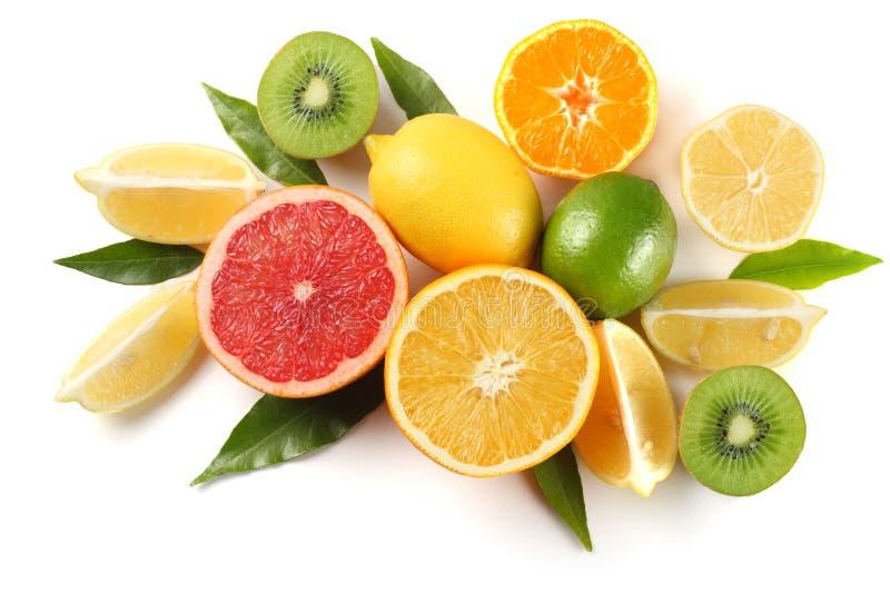Gesunde Nahrung mischen Sie geschnittene Zitrone, grünen Kalk, Orange, Mandarine, Kiwi und Pampelmuse mit grünem Blatt auf Weiß lizenzfreies stockfoto