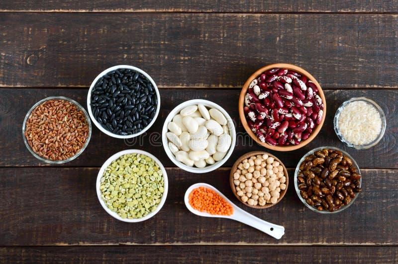 Gesunde Nahrung, Nähren, Nahrungskonzept, Protein des strengen Vegetariers und Kohlenhydratquelle stockfotografie