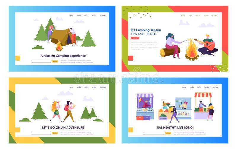 Gesunde Nahrung und kampierender Leute-Website-Landungs-Seiten-Schablonen-Satz Mann und weibliche Figuren, die mit Zelt, Sommer w lizenzfreie abbildung