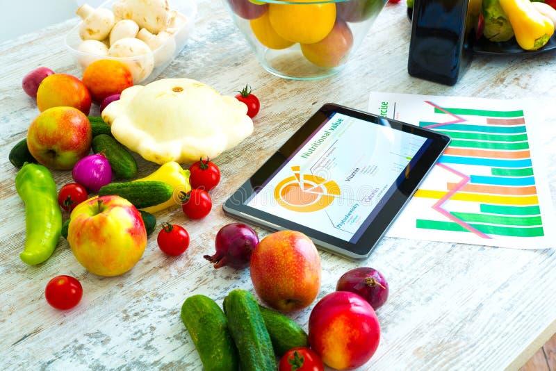 Gesunde Nahrung und Software-Anleitung lizenzfreies stockfoto
