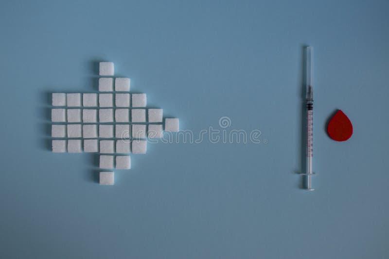Gesunde Nahrung, Zucker und Diabetes stockbilder