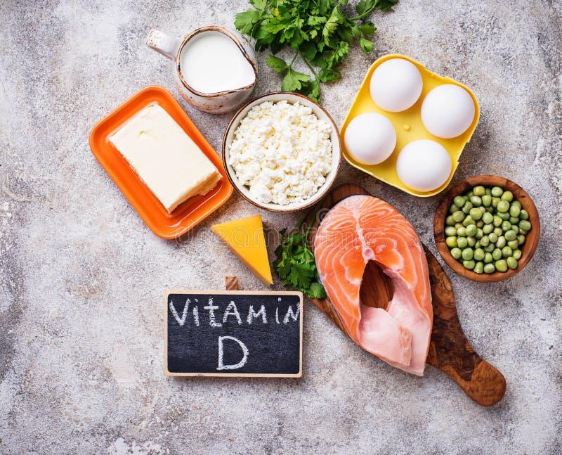 Gesunde Nahrungsmittel, die Vitamin D enthalten lizenzfreies stockbild