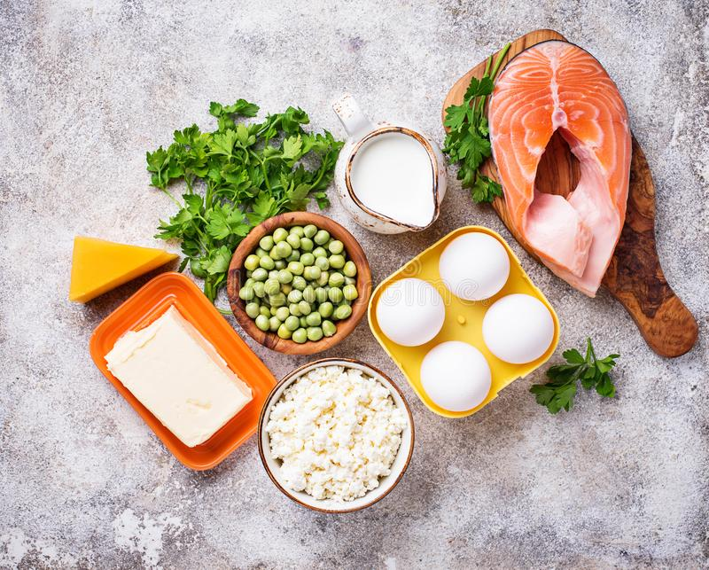 Gesunde Nahrungsmittel, die Vitamin D enthalten lizenzfreies stockfoto