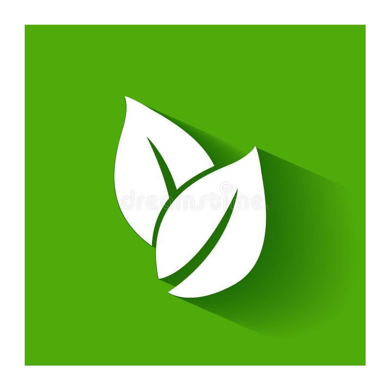 Gesunde Natur treibt flaches Design des Ikonenlogo-Vektors Blätter lizenzfreie abbildung