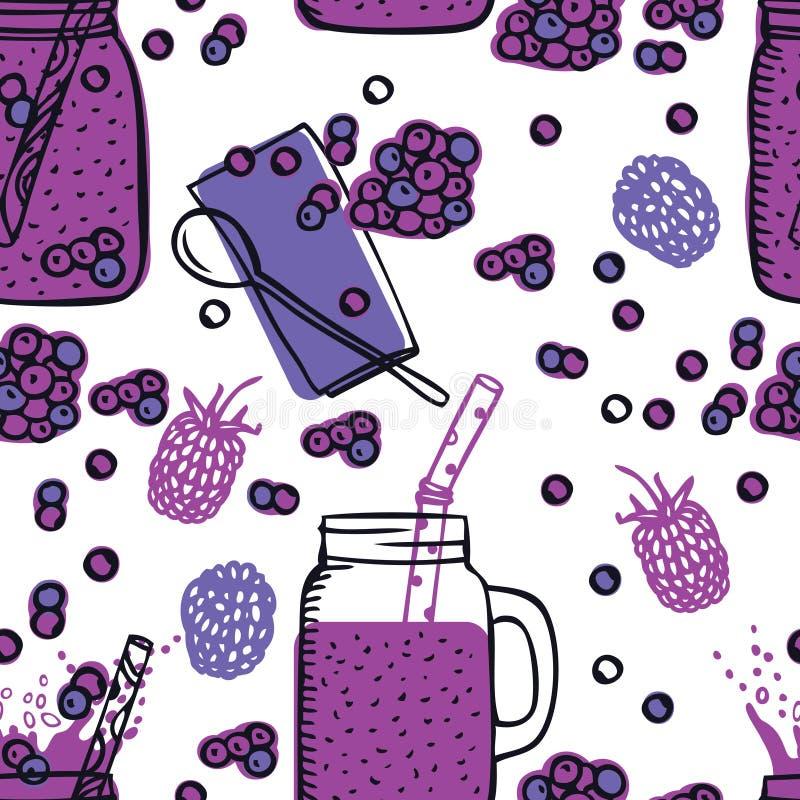 Gesunde neue Getränke des Lebensmittel-Sammlungs-Blaubeerensmoothie rütteln Trinkgläser mit nahtlosem Muster des Griffs stock abbildung