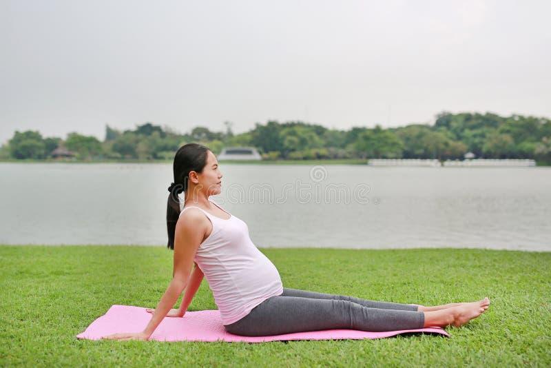 Gesunde schwangere Frau, die drau?en Yoga in der Natur tut stockbild