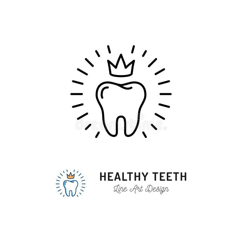 Gesunde Zahnikone Zahnpflegelogokonzept, zahnmedizinisches Klinikfirmenzeichen, Mundhygiene Dünne Linie Kunstikonen der Stomatolo stock abbildung