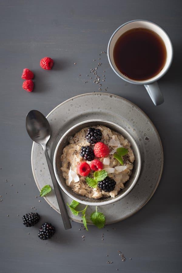 Gesunder Frühstücksstahl schnitt Hafermehlbrei mit Blaubeeren-blac stockbilder