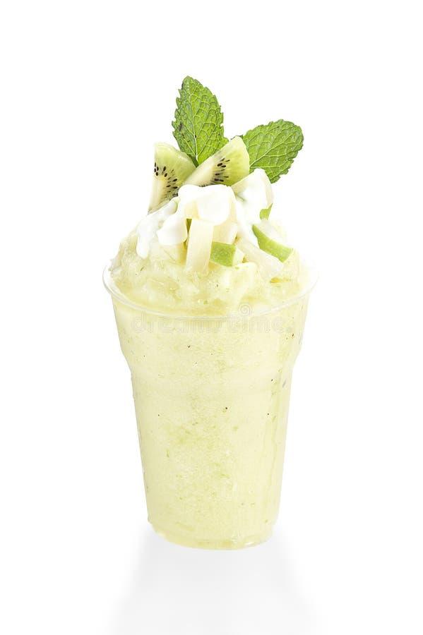 Gesunder grüner Smoothie, Apfel und Kiwi, Detox und gesundes Lebensmittel stockfoto