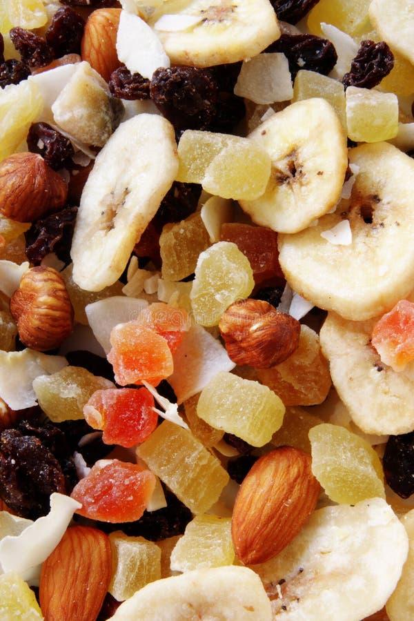 Gesunder Imbiss, Früchte und Nüsse stockfoto