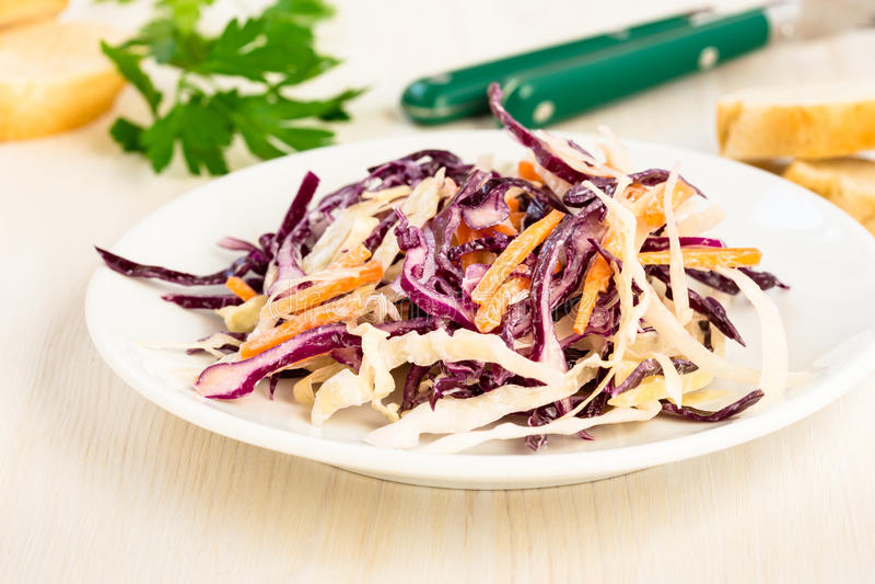 Gesunder Kohlsalat mit Rotkohl und Karotte stockfotos