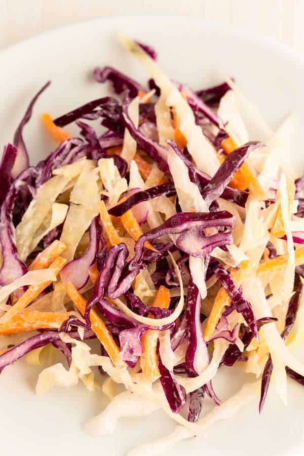 Gesunder Kohlsalat mit Rotkohl und Karotte lizenzfreie stockbilder