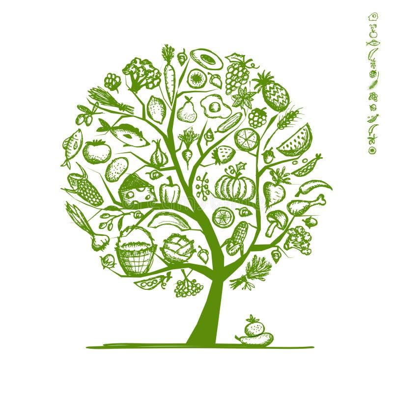 Gesunder Lebensmittelbaum, Skizze für Ihr Design lizenzfreie abbildung