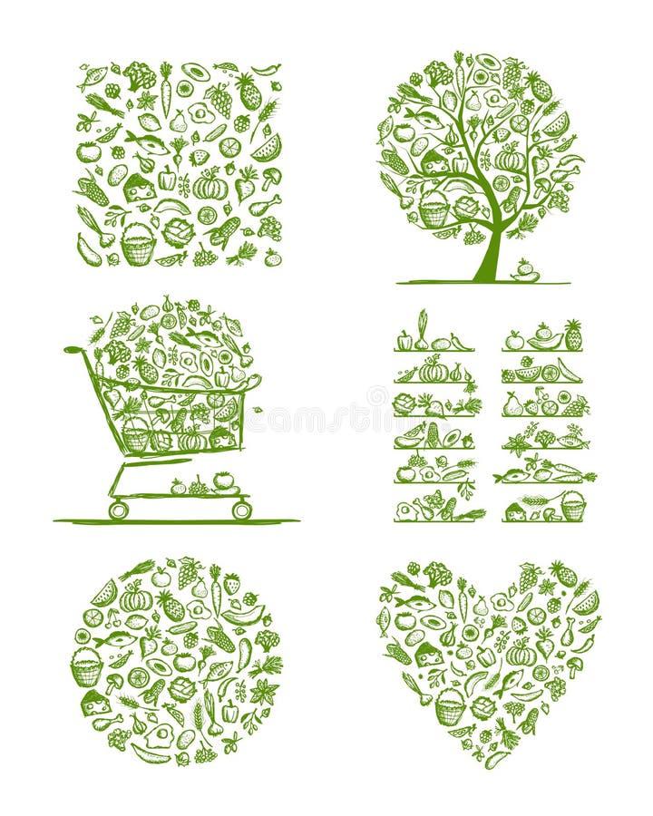 Gesunder Lebensmittelsatz, Skizze für Ihr Design stock abbildung