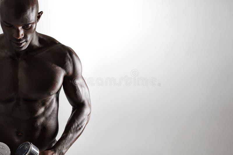 Gesunder muskulöser junger Mann, der Dummköpfe hält lizenzfreies stockbild