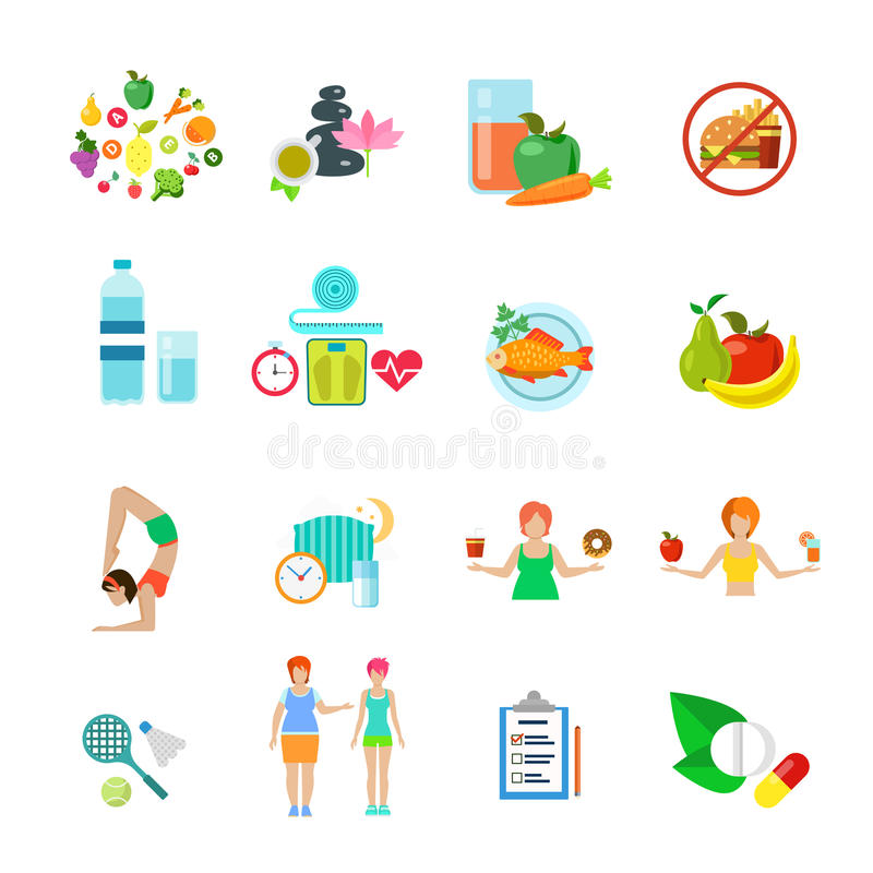 Gesunder Nahrungslebensstil der Diät vector wir Ikonensatz stock abbildung