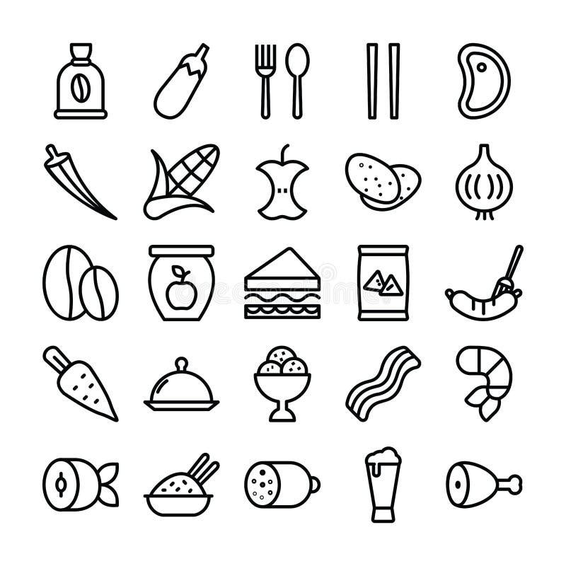 Gesunder Nahrungsmittelsatz der Linie Ikonen vektor abbildung