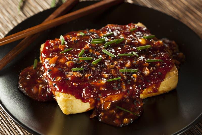 Gesunder organischer gegrillter Tofu mit würziger Knoblauch-Soße stockfotografie
