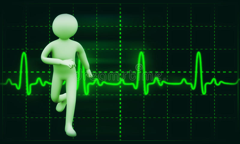 gesunder Person 3d ecg Hintergrund stock abbildung