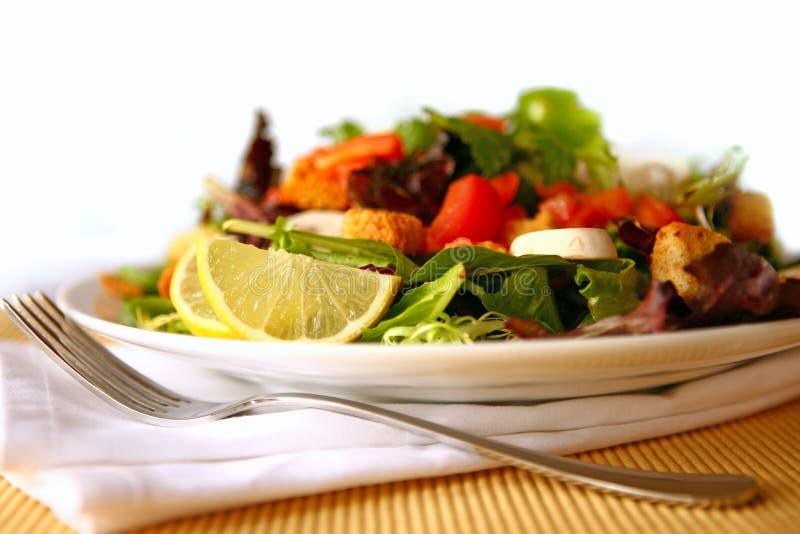 Gesunder Salat auf einem Platten-Fokus auf Zitrone stockbilder