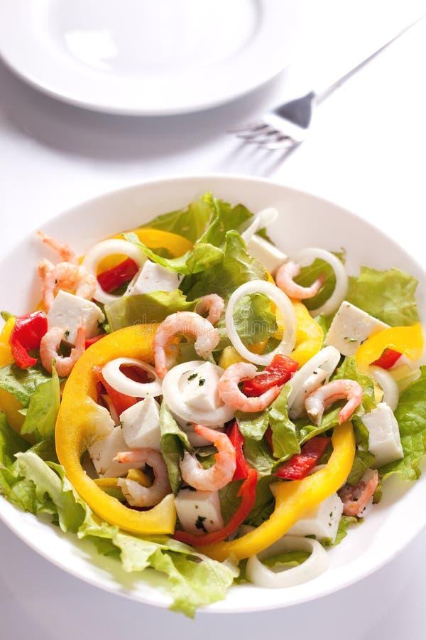 Gesunder Salat mit Garnelen lizenzfreies stockbild