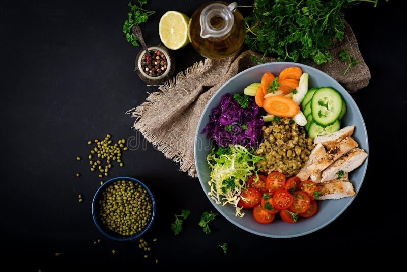 Gesunder Salat mit Huhn, Tomaten, Gurke, Kopfsalat, Karotte, Sellerie, Rotkohl und Mungobohne auf dunklem Hintergrund lizenzfreies stockfoto