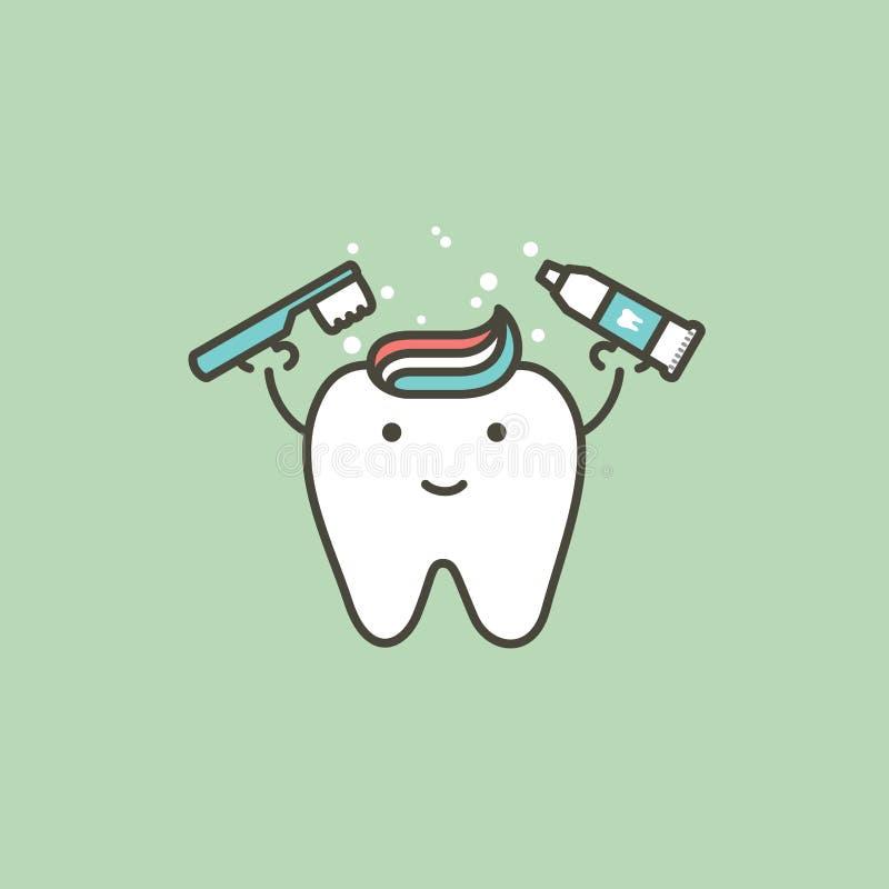 Gesunder weißer Zahn, der flach Zahnbürste und Zahnpasta, bürstendes Zahnkonzept - zahnmedizinische Art des Karikaturvektors hält stock abbildung