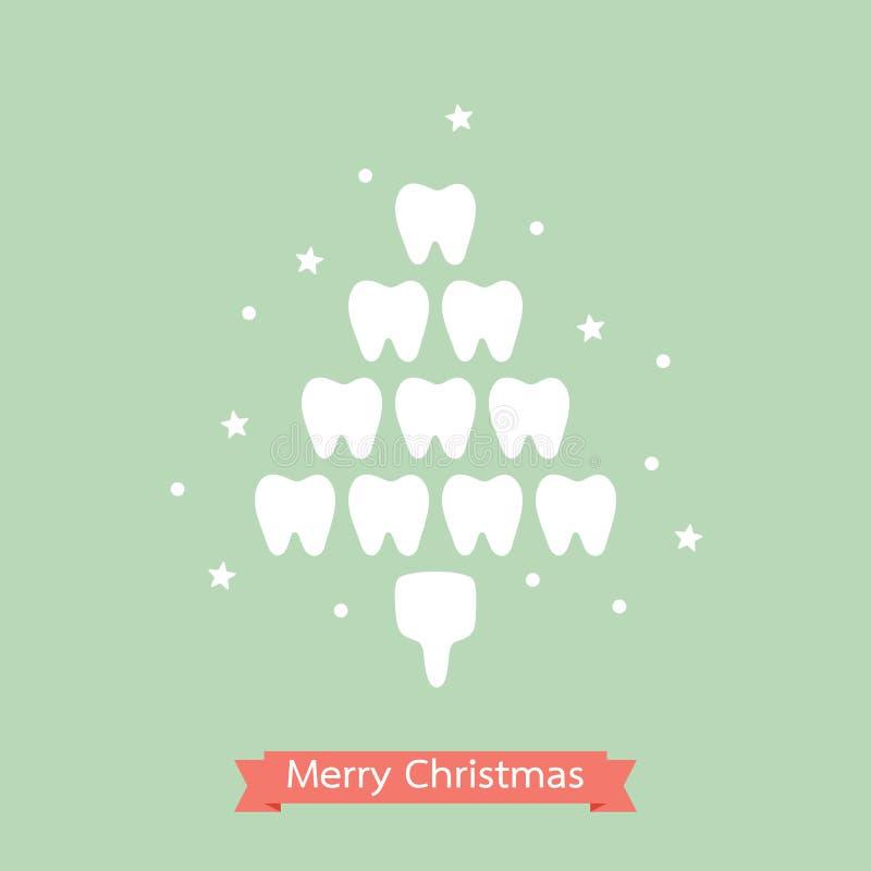 Gesunder Zahn in Form des Weihnachtsbaums für frohe Weihnachten und guten Rutsch ins Neue Jahr stock abbildung