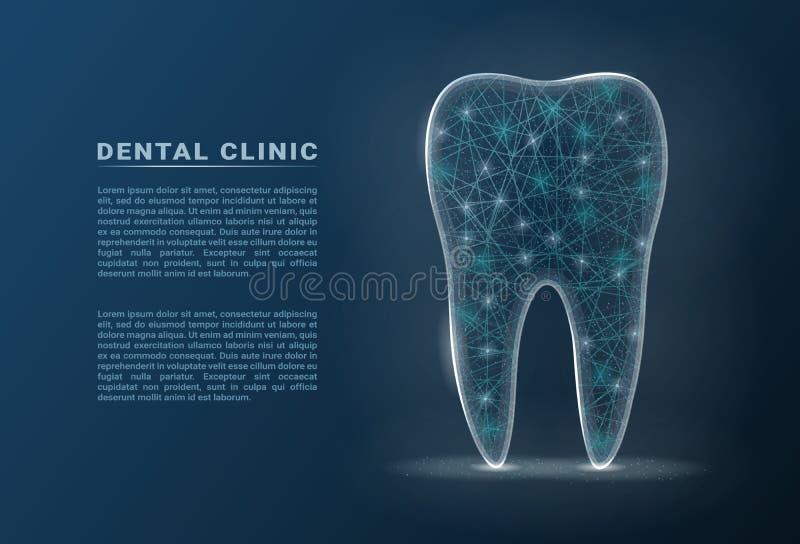 Gesunder Zahn mit glühendem Effekt, Zahnweißungs-Konzept lokalisiert auf einem Hintergrund Auch im corel abgehobenen Betrag lizenzfreie abbildung