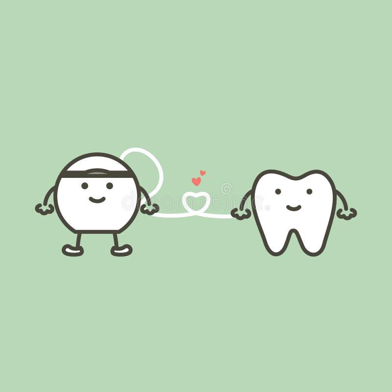 Gesunder Zahn und Glasschlacke mit dem Herzen, das für Reinigungszähne sich vorbereitet vektor abbildung