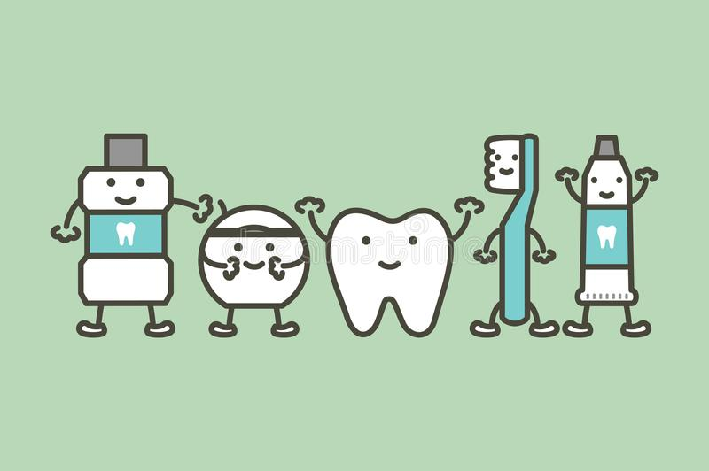 Gesunder Zahn und lustige Freundzahnbürste, Zahnpasta, Mundwasser und Glasschlacke, Zahnpflegekonzept vektor abbildung