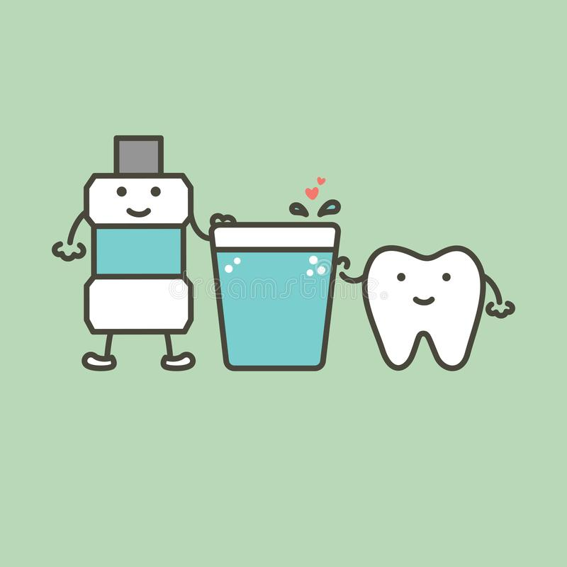 Gesunder Zahn und Mundwasser mit dem Herzen, das für Reinigungszähne sich vorbereitet stock abbildung