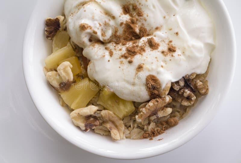 Gesundes breakfat des Hafers und des Joghurts lizenzfreie stockbilder