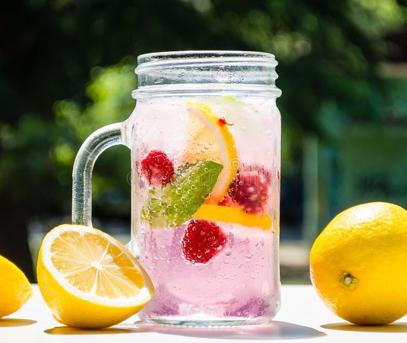 Gesundes Detoxwasser gedient in einem Weckglas mit Eiszitronenhimbeertadellosen Blattblasen und mit grüner Natur und Bäumen umgeb stockfotografie