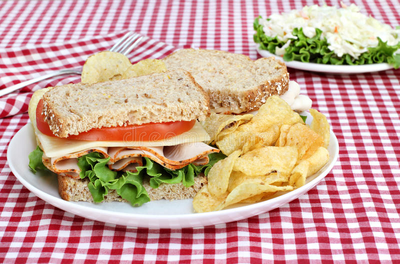Gesundes die Türkei-Sandwich auf vollständigem Korn-Brot lizenzfreie stockfotos