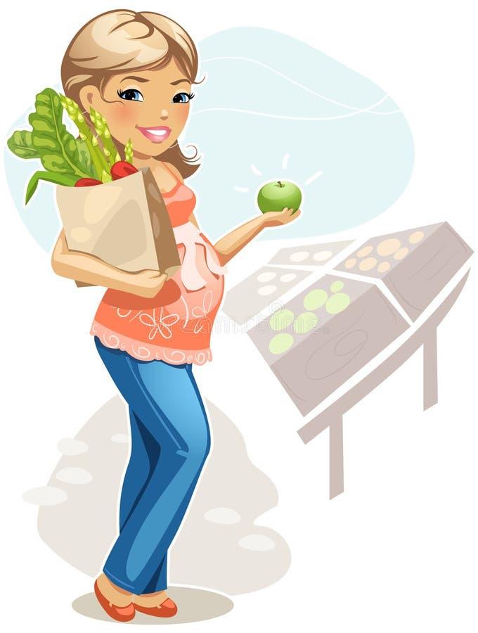 Gesundes Essen für schwangere Frau lizenzfreie abbildung