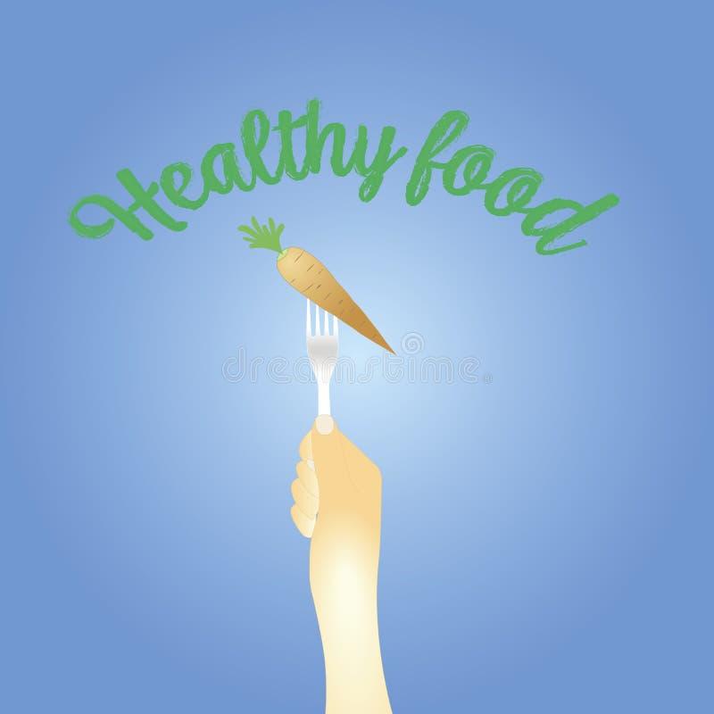 Gesundes Essenkonzept Karotten auf einer Gabel Auch im corel abgehobenen Betrag vektor abbildung