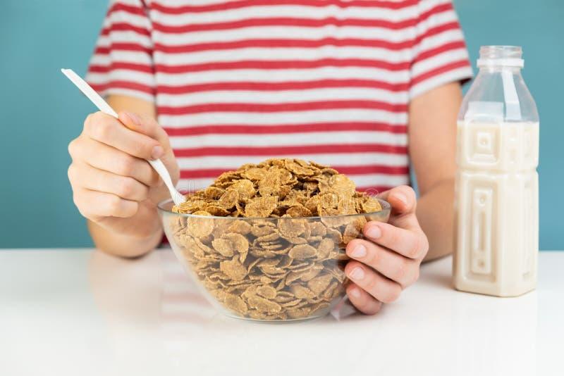 Gesundes Frühstück mit ganzem Korngetreide- und -milchkonzept krank lizenzfreies stockfoto