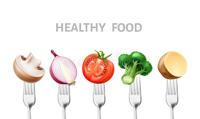 Gesundes Gemüse der Nahrung 3d des Vektors auf silbernen Gabeln vektor abbildung