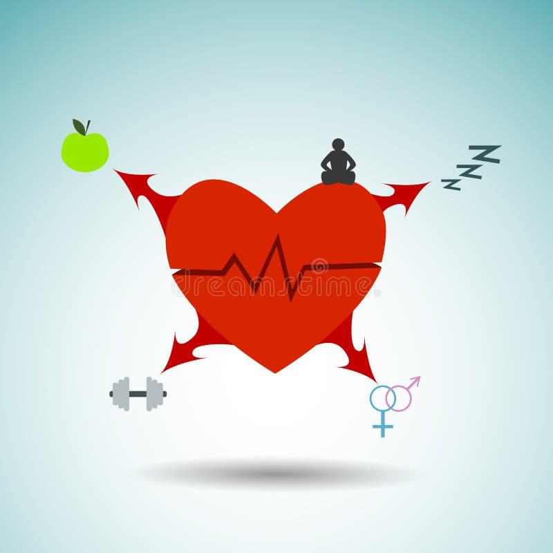 Gesundes Herz Infographics und alles, das für dieses erforderlich ist lizenzfreie stockfotos