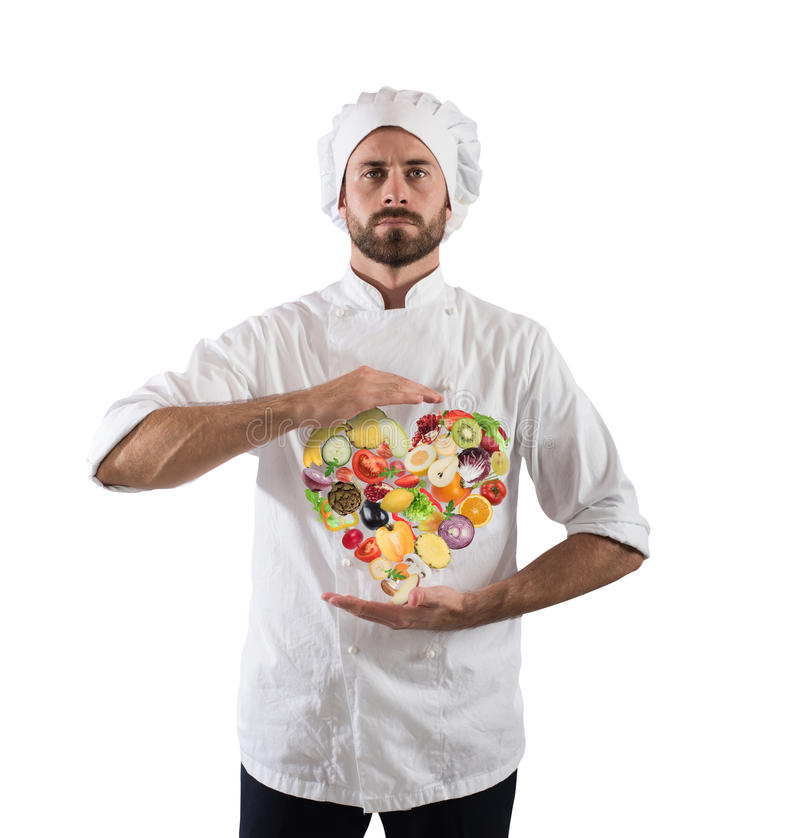 Gesundes Kochen des Chefs lizenzfreie stockfotos