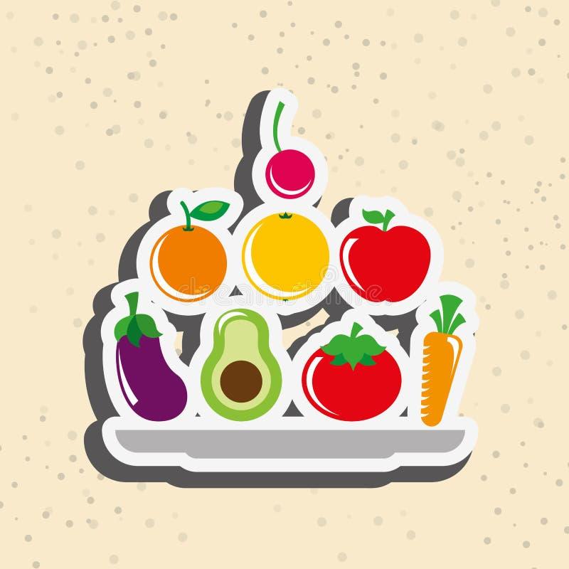 Gesundes Lebensmitteldesign lizenzfreie abbildung