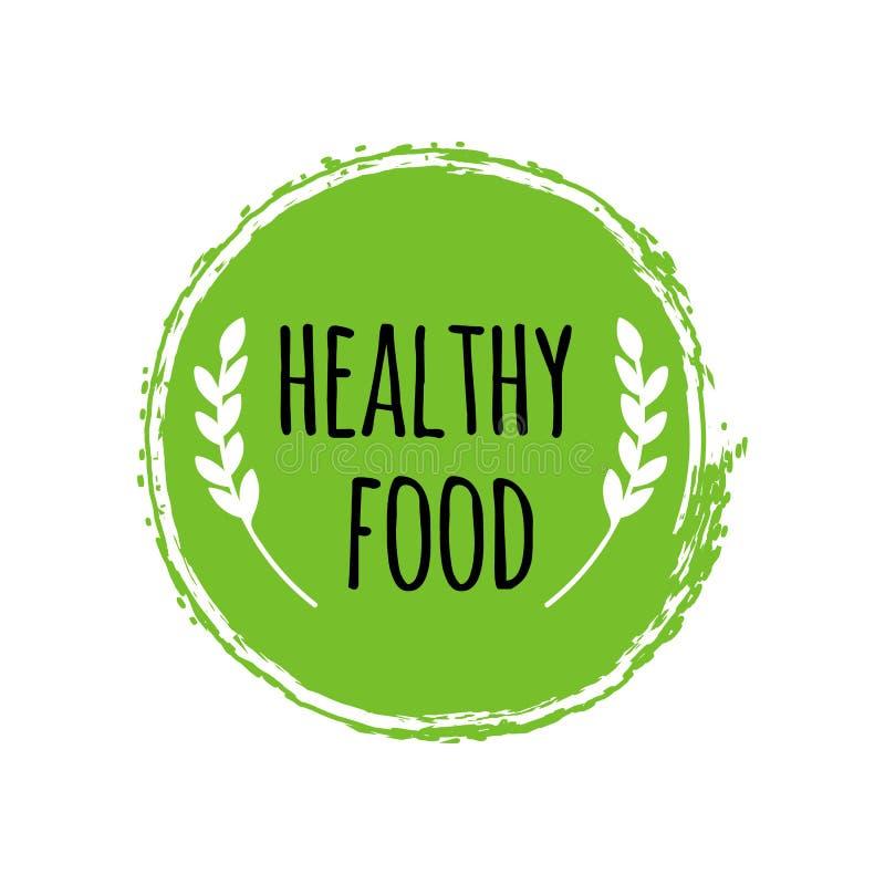 Gesundes Lebensmittellogo Grüne Kreisbürste Ausweis des strengen Vegetariers vektor abbildung