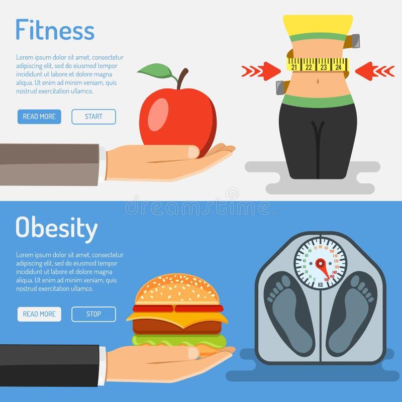 Gesundes Lebensstil-und Korpulenz-Konzept lizenzfreie abbildung