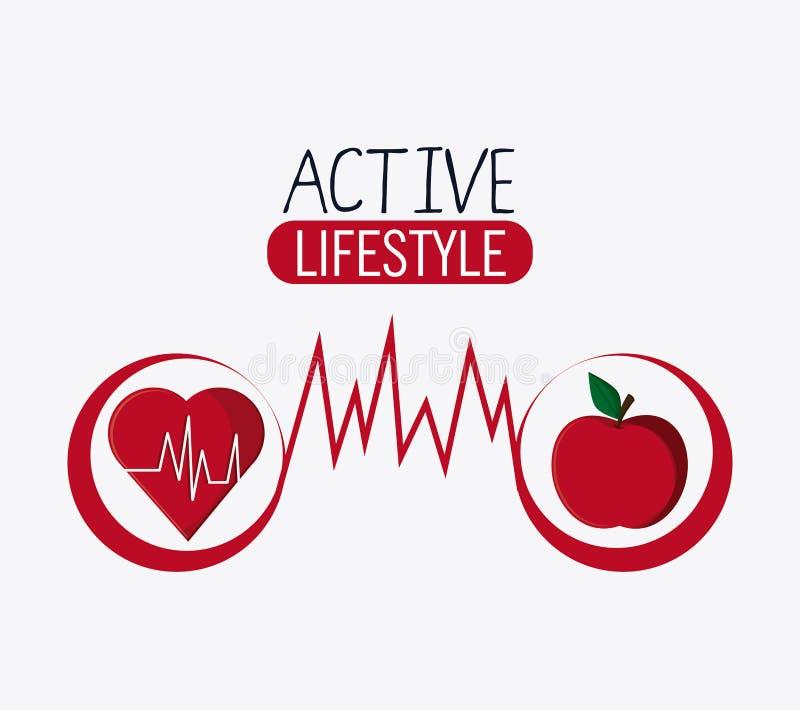 Gesundes Lebensstildesign des Herzapfels vektor abbildung