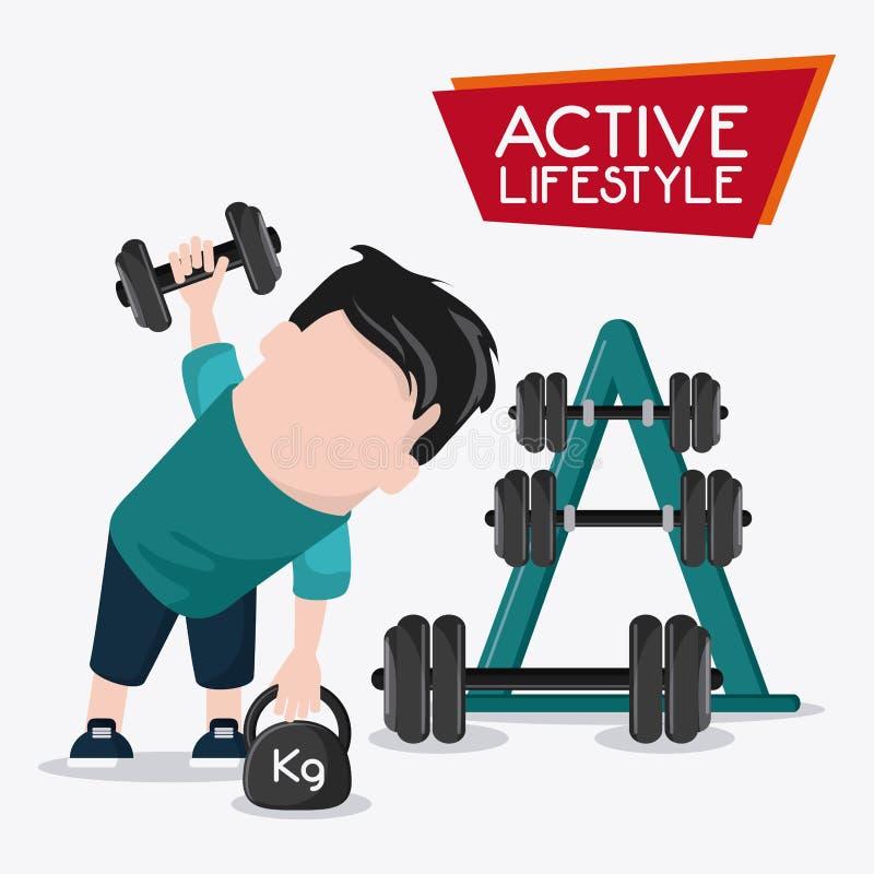 Gesundes Lebensstildesign des Jungengewichthebens lizenzfreie abbildung