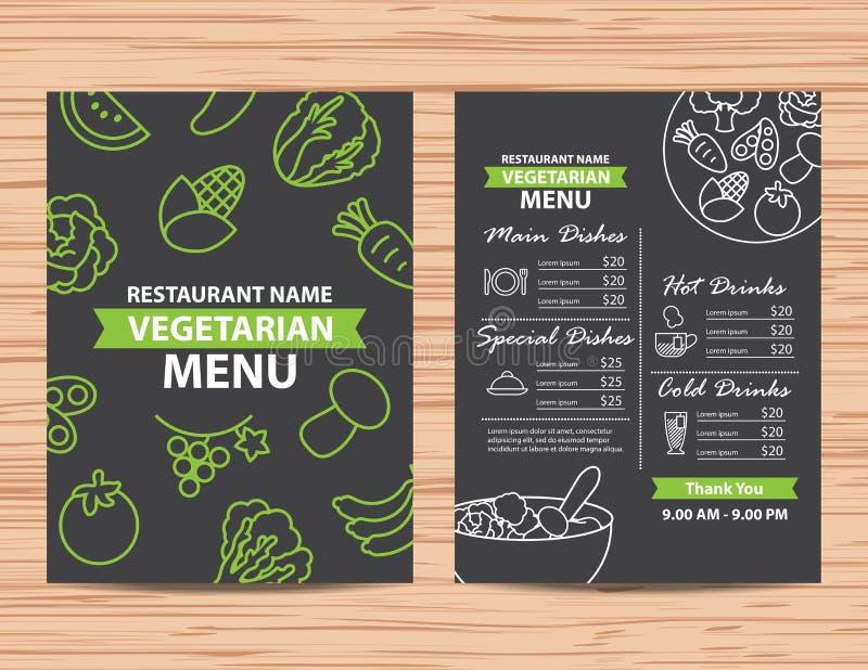 Gesundes Menüdesign des Restaurantvegetariers und -strengen Vegetariers lizenzfreie abbildung