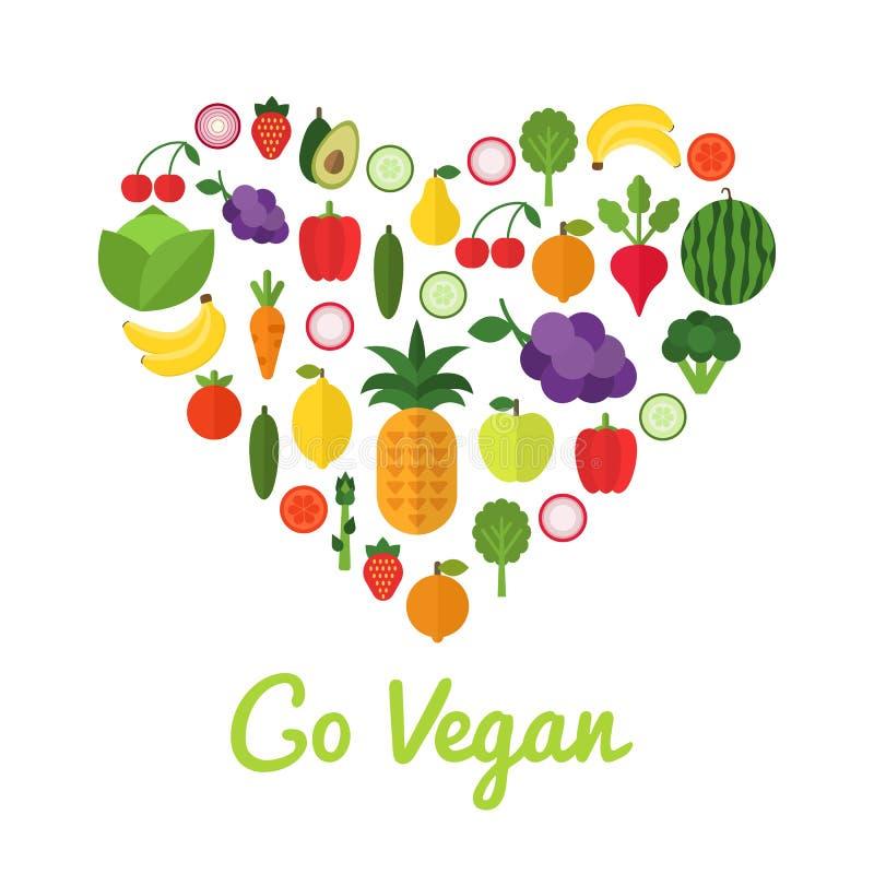 Gesundes Nahrungsmittelkonzept Gehen Design des strengen Vegetariers Herzform füllte mit Sammlung frischen gesunden Obst und Gemü stock abbildung