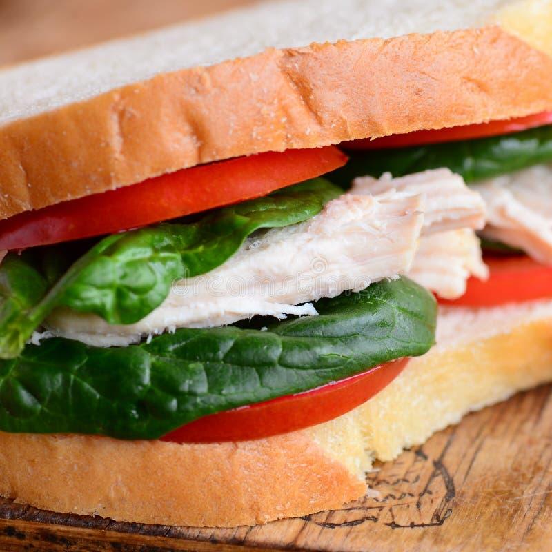 Gesundes Rezept des belegten Brots mit Hühnerfleisch Homemamde-belegtes Brot mit Hühnerfleisch mit Tomaten und Spinat auf einem h lizenzfreie stockfotografie