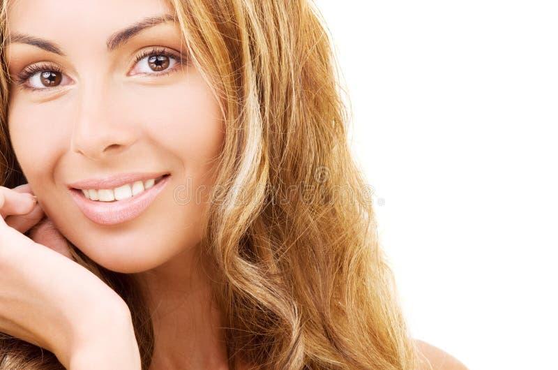 Gesundes schönes Frauengesicht lizenzfreie stockbilder